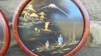 Pair of Antique Oriental Lacquered Chinoiserie Panels c.1900 (6 of 8)