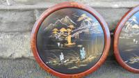 Pair of Antique Oriental Lacquered Chinoiserie Panels c.1900 (4 of 8)