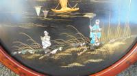 Pair of Antique Oriental Lacquered Chinoiserie Panels c.1900 (2 of 8)