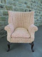Antique English Barrel Back Wing Armchair (5 of 6)
