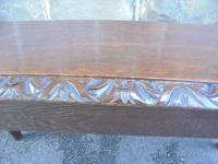 Antique Carved Oak Hall Seat Stool Bench c.1860 (7 of 8)