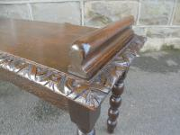 Antique Carved Oak Hall Seat Stool Bench c.1860 (8 of 8)