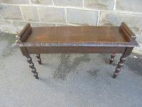 Antique Carved Oak Hall Seat Stool Bench c.1860 (2 of 8)