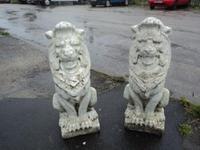Pair of Antique Stone Garden Lions c.1880 - 1900