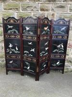 Antique Oriental 4 Fold Lacquered Dressing Screen