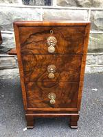 Pair of Antique Burr Walnut 3 Drawer Bedside Chest (2 of 8)