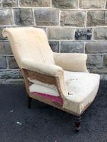 Antique English Upholstered Armchair for Recovering (2 of 7)