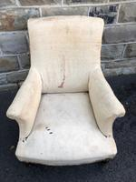 Antique English Upholstered Armchair for Recovering (3 of 7)