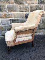 Antique English Upholstered Armchair for Recovering (4 of 7)
