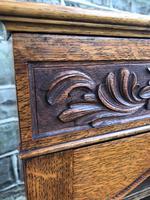 Antique Carved Oak Glazed Bookcase (4 of 10)