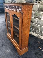 Antique Carved Oak Glazed Bookcase (5 of 10)
