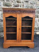 Antique Carved Oak Glazed Bookcase (6 of 10)