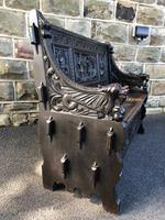 Antique Carved Oak Hall Seat Bench (7 of 11)