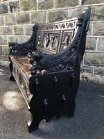 Antique Carved Oak Hall Seat Bench (9 of 11)