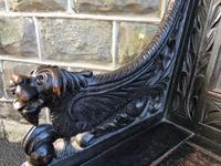 Antique Carved Oak Hall Seat Bench (10 of 11)