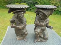 Pair of Antique Carved Oak Black Forest Stools c.1800