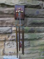 Edwardian Oak & Brass Hanging Wind Chime c.1910 (2 of 5)