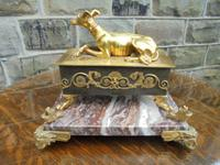 Antique Bronze & Marble Desk Stand Inkwell
