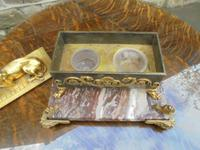 Antique Bronze & Marble Desk Stand Inkwell (6 of 10)