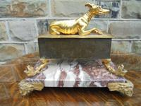 Antique Bronze & Marble Desk Stand Inkwell (5 of 10)