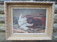Mischievous Kittens Playing Oil on Canvas