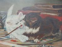 Mischievous Kittens Playing Oil on Canvas (2 of 12)