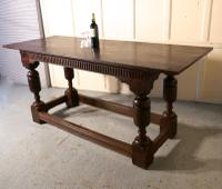 Arts & Crafts Gothic Carved Oak Table (9 of 11)