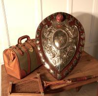 1901 Art Nouveau Sheffield Plate Cricket Trophy Shield, by Walker Hall & Sons