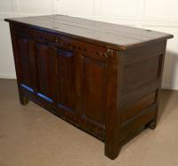 Large 17th Century Inlaid Panelled Oak Coffer (2 of 7)