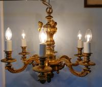 French Gilded Brass 6 Branch Rococo Chandelier (6 of 10)