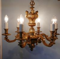 French Gilded Brass 6 Branch Rococo Chandelier (10 of 10)
