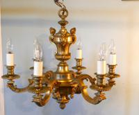French Gilded Brass 6 Branch Rococo Chandelier (8 of 10)