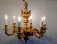 French Gilded Brass 6 Branch Rococo Chandelier (9 of 10)