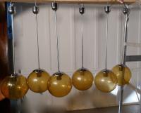 Set of 6 Large Retro Amber Globe & Chrome Lights