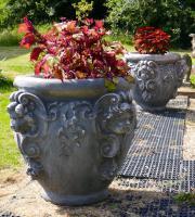 Huge Pair of Baroque Garden Urns Carved with Female Gargoyles, Specimen Tree Pots