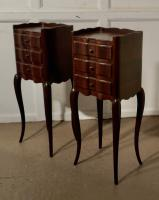 Pair of French Dark Walnut Bedside Cabinets with Drawers (3 of 5)