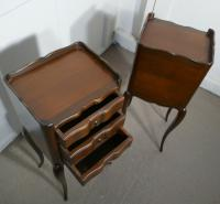 Pair of French Dark Walnut Bedside Cabinets with Drawers (4 of 5)