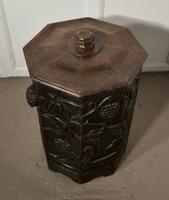 Arts & Crafts Carved Oak Lined Coal or Log Bucket (7 of 8)