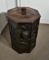 Arts & Crafts Carved Oak Lined Coal or Log Bucket (8 of 8)