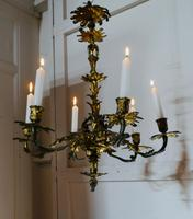 French Gilded Brass 6 Branch Rococo Chandelier (10 of 11)