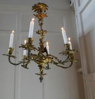 French Gilded Brass 6 Branch Rococo Chandelier (9 of 11)