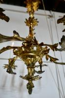 French Gilded Brass 6 Branch Rococo Chandelier (11 of 11)