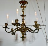 French Gilded Brass 6 Branch Rococo Chandelier (3 of 11)