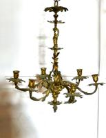 French Gilded Brass 6 Branch Rococo Chandelier (4 of 11)