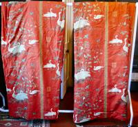 """A Very Large Pair of Lined Greeff Vintage Curtains """"Aviary From the Emperors"""" Fabric (8 of 9)"""