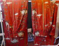 """A Very Large Pair of Lined Greeff Vintage Curtains """"Aviary From the Emperors"""" Fabric (7 of 9)"""