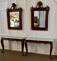 Pair of French Marble Top Console Tables with Mirrors