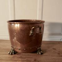 19th Century Copper Log Bin Cauldron (3 of 7)