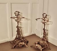 Pair of Unusual French Hunting Theme 'Chasse' Brass Stick Stands