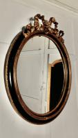 Large French Ebonised & Gilt Oval Wall Mirror (5 of 7)